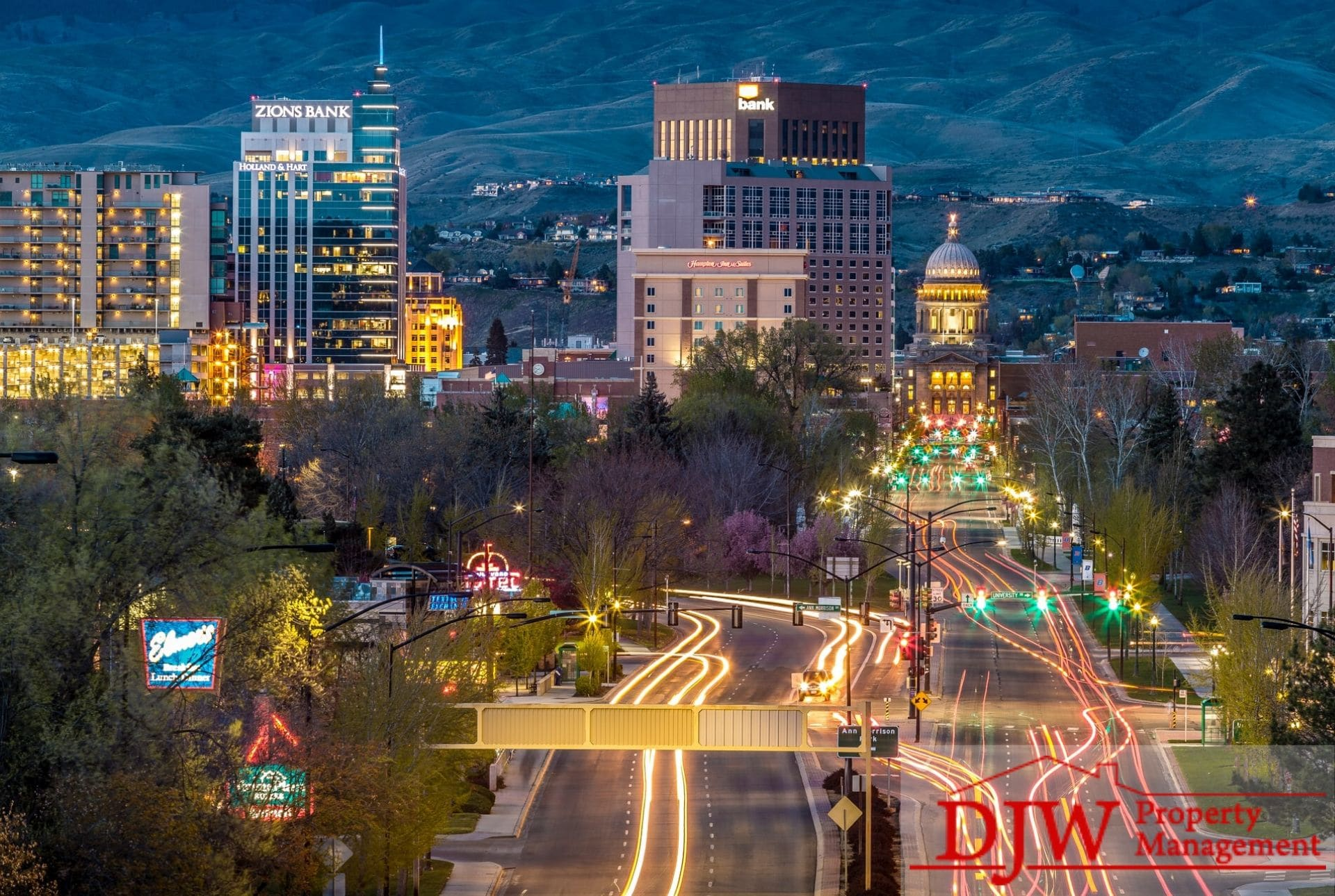 An evening view of downtown Boise, Idaho.