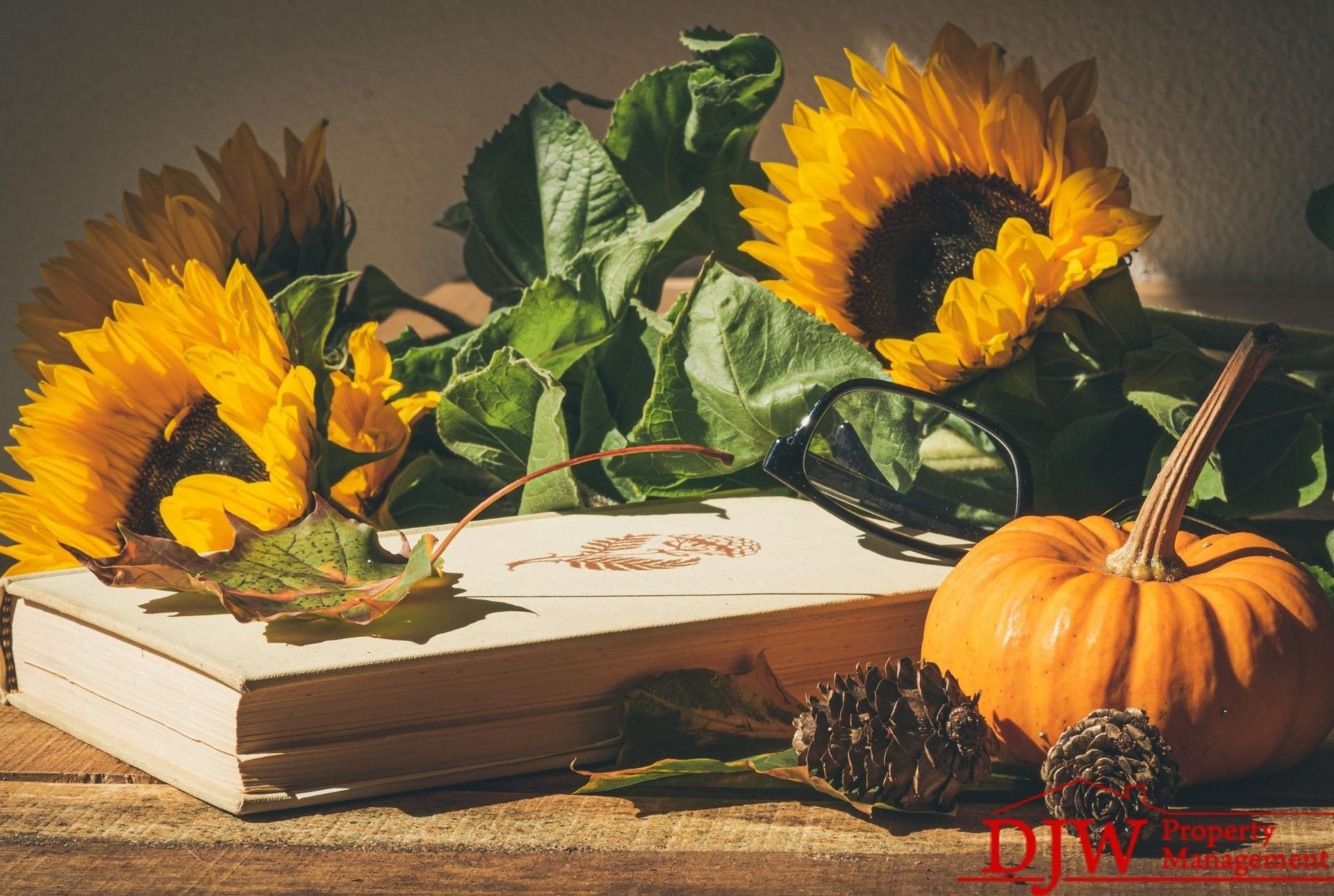 Sunflowers rest on a book. A small pumpkin sits beside them.