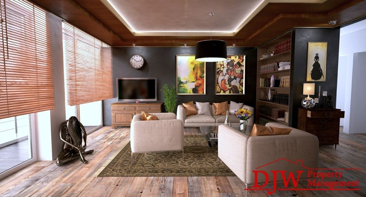 Modern apartment with black walls and large windows